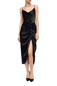 Ava Draped Satin X Back Dress - Black