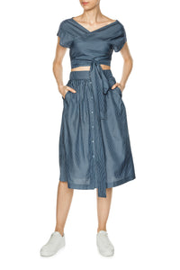 Button Front Silk Skirt - Blue