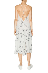 Crisscross Back Silk Dress - White
