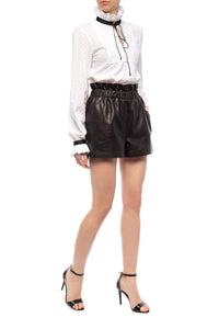 Ruffle Waist Leather Shorts