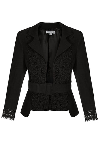 Lace Cropped Jacket - Black