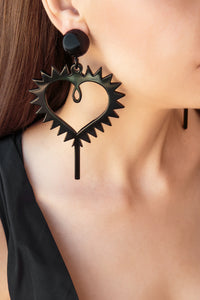 Heart Earrings - Black