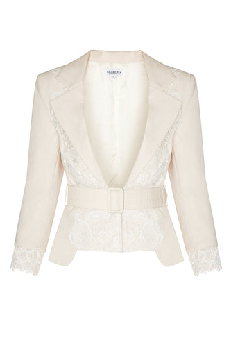Lace Cropped Jacket - Ivory