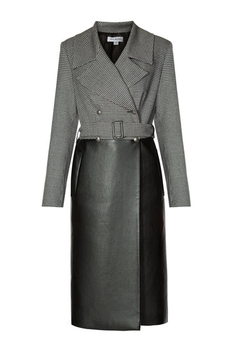 Houndstooth Wool And Leather Coat