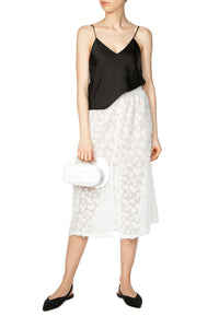 Devoré Midi Skirt - White