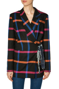 Side Tie Checkered Jacket