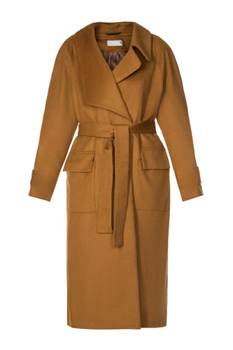Wool Cocoon Belted Coat