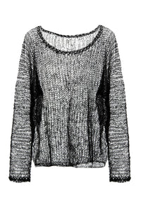 Open Weave Mohair Sweater - Black