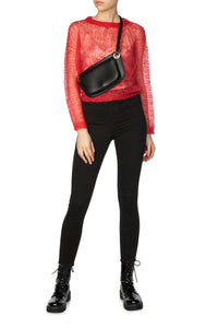 Open Weave Mohair Sweater - Red