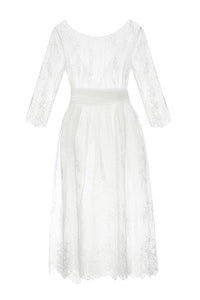 Lace Illusion Dress - White