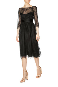 Lace Illusion Dress - Black