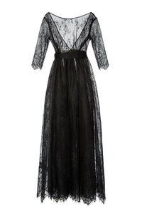 Lace Long Illusion Gown - Black