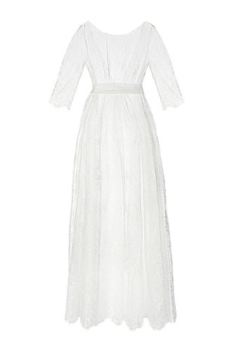 Lace Long Illusion Gown - White