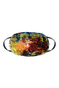 Sequin Face Mask - Orange/Blue (Filter Pocket)