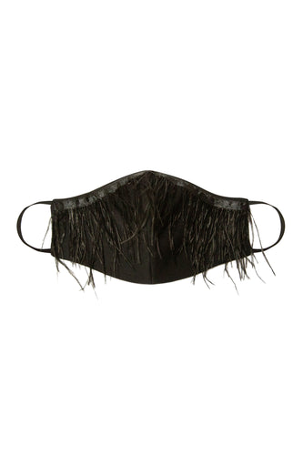 Face Mask - Ostrich Fringe Trim