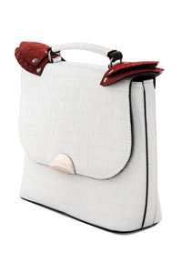 Croc Pattern Top Handle Bag - White
