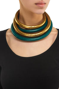 Double Tube Choker - Gold
