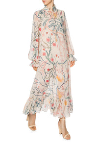 Alice in Wonderland Chiffon Maxi Dress - Ivory