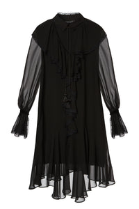 Chiffon Ruffle Dress - Black