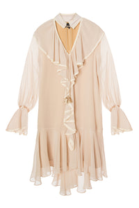 Chiffon Ruffle Dress - Beige