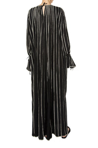 Contrast Stripe Cotton Maxi Dress