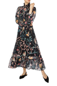 Alice in Wonderland Chiffon Maxi Dress - Black