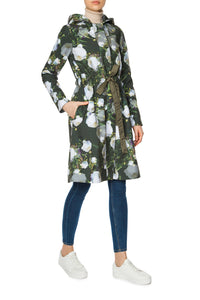 Matte Peony Hooded Raincoat