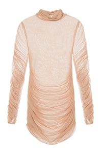 Sheer Ruched Turtleneck