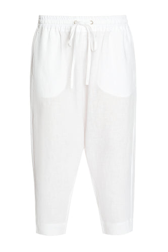 Linen Draped Pants - White