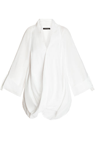 Crisscross Front Linen Jacket - White