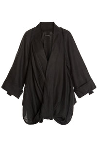 Crisscross Front Linen Jacket - Black