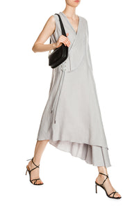 Side Lace Asymmetric Dress - Grey