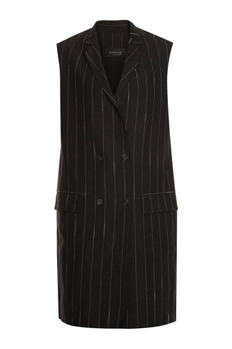 Pinstripe Double Breasted Dress - Black