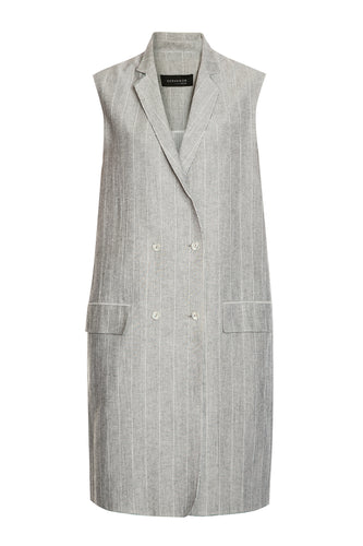 Pinstripe Double Breasted Dress - Grey