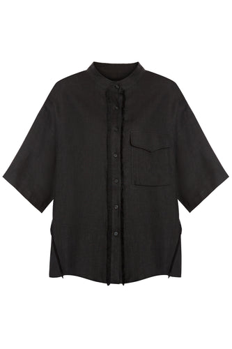 Mandarin Collar Linen Shirt - Black