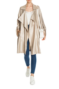 Open Front Wool and Silk Coat
