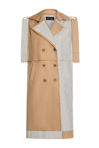 Bicolor Transformer Trenchcoat Dress