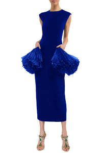 Fringe Peplum Sheath Dress - Blue