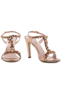 Crystal T Strap Sandals - Bronze
