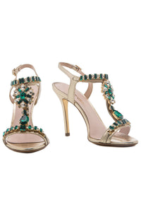 Crystal T Strap Sandals - Green