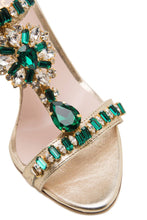Load image into Gallery viewer, Crystal T Strap Sandals - Green