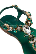 Load image into Gallery viewer, Crystal Thong Sandals - Green