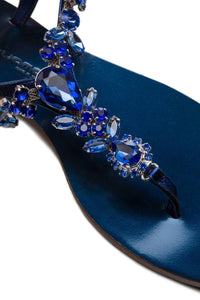 Crystal Thong Sandals - Blue