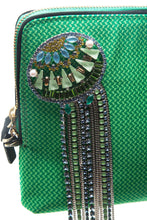 Load image into Gallery viewer, Green Crystal Fringe Medusa Clutch