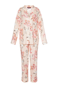 Silk Long Sleeve Pajamas - Japanese Garden Print