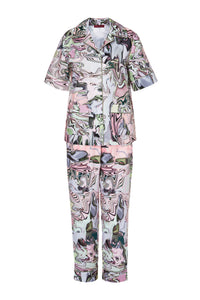 Cotton Short Sleeve Pajamas - Marble Print