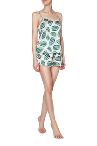 Silk Cami Shorts Set - Jungle Leaf Print