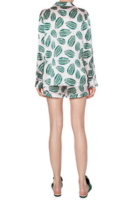 Silk Pajama Shorts Set - Jungle Leaf Print