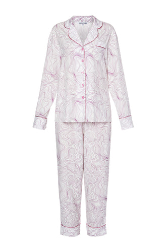 Silk Long Sleeve Pajamas - Swirl Print