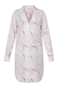 Silk Shirtdress - Swirl Print